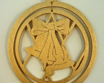 Small Two Bells and Ribbon Handmade Wood Gold Painted Christmas Ornament  xbel02sm