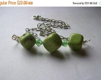 On Sale Lime green necklace. Dyed turquoise nugget necklace.