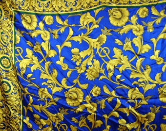 Adolfo Vintage Silk Scarf - Royal Blue with Bold flowers and Filigree