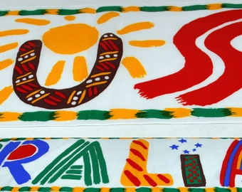 Vintage Ken Done 1980s Colorful Australian Scarf - Spells Out the Country in Stylized Letters - Polyester Made in Japan