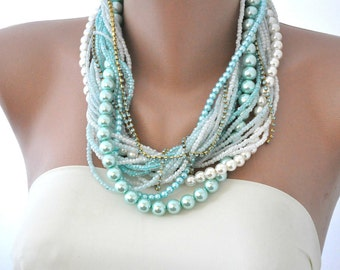 Weddings, Chunky Layered Turquoise and Ivory Pearl Necklace ,