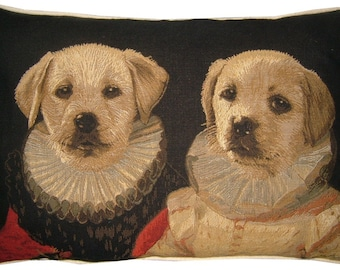Thierry Poncelet Labrador Puppies Oblong Tapestry Cushion Pillow Cover