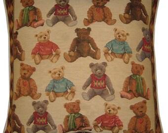 Allover Teddy Bears Woven Tapestry Cushion Pillow Sham