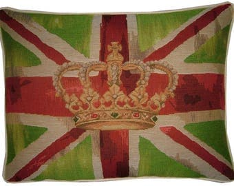 Union Jack Lime Design 1 Oblong Tapestry Cushion Pillow Cover