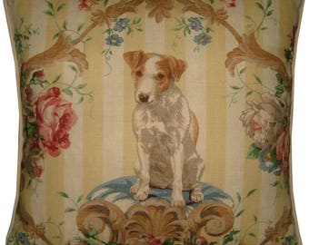 Lee Jofa Putting On the Dog Jack Russell Terrier Linen Tapestry Cushion Pillow Cover Sham