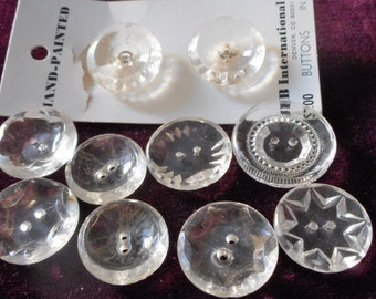 Lot of 10 VINTAGE Sew Thru Clear Glass BUTTONS