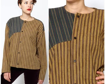 Vintage 1980s Oversized Brown & Blue Striped Top by Issey Miyake Plantation | Small Medium Large