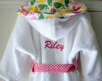 PERSONALIZED-Child-Robes-Girls-Bath-Robe-Girl-Pink-Whale-Bathrobes-Beach-Sleepwear-Sweet-Dreams-Hooded-Terry-Swim-Suit-Cover-Baby&Kids-2-6T