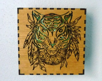 Cherry Wood Tiger Lighted Shadow Box
