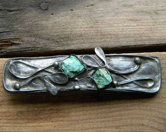 Raw Turquoise  Barrette, Raw stone Hair barrette ,Handmade tinned copper barrette with  turquoise