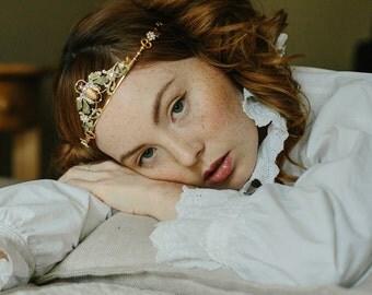1920s scarab wedding crown, bridal tiara, 1920s headpiece - Good Luck Crown no. 2186