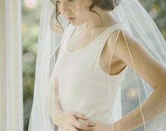Bridal veil, satin cord edge, double panel, wedding veil - Day Dreamer no. 2208