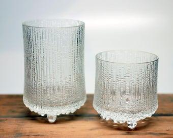 "Iittala  Glass Ultima Thule 5"" Water Glass and 3.5"" Whiskey Glass -Tapio Wirkkala - Finland - Set of 2"
