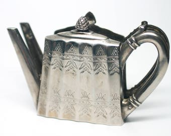 Vintage Godinger Silver Plate Teapot Shaped Napkin Holder - Mail Organizer - Note Holder