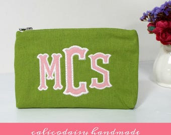 Applique Monogrammed Zipper Cosmetic Bag / Change Purse / Wallet / Clutch / Zipper Pouch