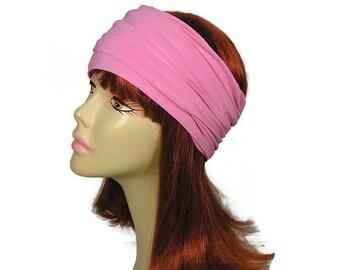 SALE Pink Head Wrap Lycra Head Wrap Pink Headband Rose Headband Stay in Place Headband Stay in Rose Head Wrap Women's Athletic Headgear