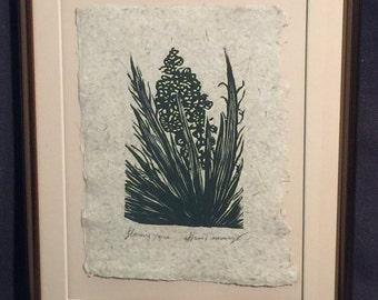 FRAMED 8X10 Original Woodcut Flowering Yucca Mojave Desert Valley of Fire Flora Cactus