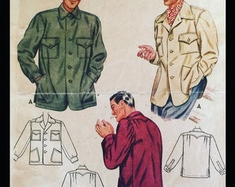 Vintage 40s Yoked Button Fromt Casual Shirt 4267 14 1/2 15