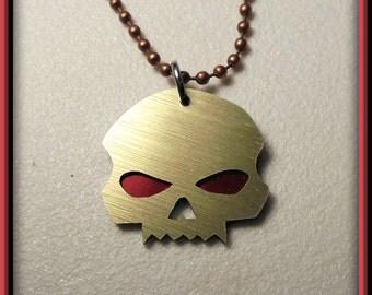 Copper Skull Necklace, Copper Skull, Vampire Skull, Skull Pendant, Aluminum, Red Back, Hand Crafted, Motorcycle, Goth, Biker, Red Eyes, Goth