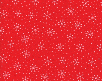 Red Dot Green Dash (22301 11) Red Snowflakes Dots by Me and My Sister Designs