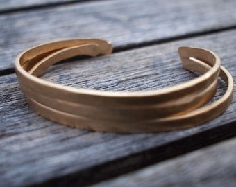 Hammered Bronze Bracelet, 8th Anniversary Gift, Cuff, Bangles, Anniversary Bracelet,Matte Gold Cuff