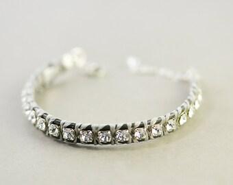 Crystal Leather Bracelet, Sterling Bracelet, Gray Leather bracelet, Everyday, Casual