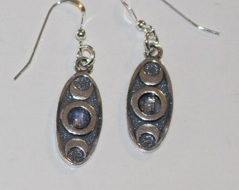 Sterling Triple Moon with WICCAN REDE Earrings with Moonstone - An It Harm None, Do as You Will