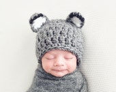 Hat for Babies, Crochet Baby Hat, Baby Wolf Hat, Baby Boy Hat, Baby Girl Hat, Baby Beanie, Newborn Hat, Infant Hat, Baby Animal Hat, Grey