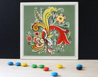 Vintage Berggren tile. Floral Folk Art.