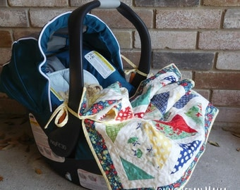 April Showers Car Seat Quilt with Ties • Stroller Quilt • Ready to Ship