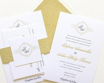 Monogram Wedding Invitation - Gold Glitter Wedding Invitation - Gold and Black Wedding Invitation