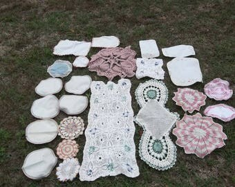 24 Vintage Pink Doilies Crochet Lace Doilies Crochet Table Runner Cottage Chic Shabby French Country Farmhouse Set of 24
