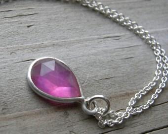 Pink Sapphire Sterling Pendant