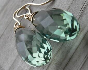 Prasiolite Green Amethyst Elongated Gold Fill Earrings