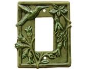 Hummingbird Ceramic Light Switch Cover- Single Rocker GFI Plate in Green Velvet Glaze