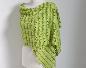 Lace crochet shawl, green shawl,  P509