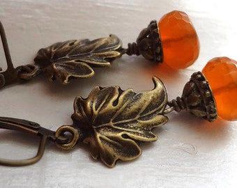 Carnelian Earrings,Leaf Earrings  Stone Earrings, Dangle Earrings orange stone earrings, gemstone earrings brass leaf earrings, lever back