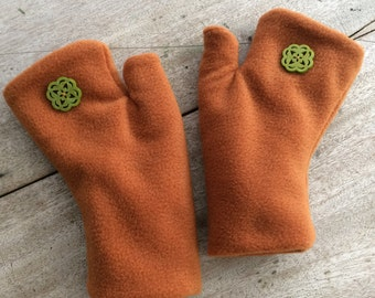 Fingerless Gloves / Handwarmers in soft fleece, fully lined, Adult size MED, Made in Maine