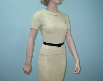 1950s Knit Sweater Outfit . Vintage 50s Celery Green Fitted Sweater Suit Top & Skirt . XS S