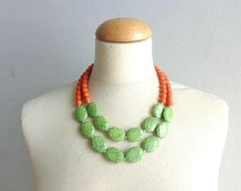 Orange Green necklace double strand