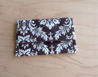Damask White on Brown Card Wallet Gift for Her