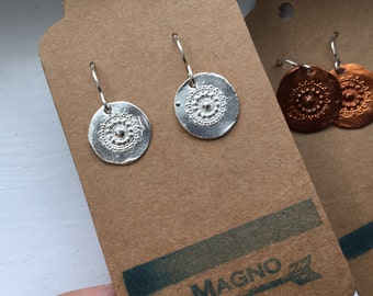 Handmade silver India dot mandala earrings on sterling wires