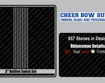 """3"""" Cheer Bow Straight Lines Rhinestone Strip 3"""" X 13"""" INSTANT FILE DOWNLOAD"""