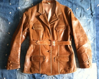 Vintage 1930's Brown Leather Belted Sport Jacket - Ladies