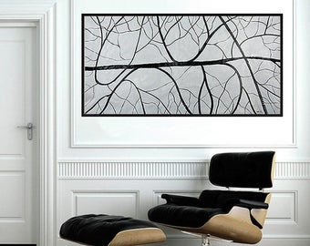 Grey Abstract painting extra Large canvas art acrylic painting wall art wall decor home office decor modern art by QiQiGallery