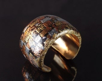 Polymer clay cuff bracelet,brass, silver, gold and copper foil, statement