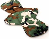 """Reusable Cloth Menstrual pad- 11 inch HEAVY flow -bamboo core - Windpro - minky top in """"Green Camouflage"""""""