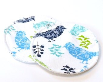 Large Reusable Nursing Pad Set in Bamboo/Organic Cotton with hidden PUL - cotton flannel top - Sparrows