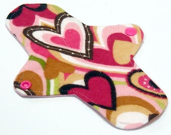 "Ultrathin Reusable 8"" Cloth Pantyliner Minipad - Cotton Flannel top - Be My Valentine"