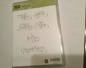 DESTASH - Used Stampin Up Stamp Set - Well Scripted
